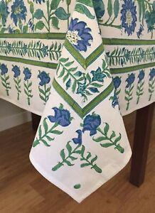 "Anokhi Samode Emerald Cotton Tablecloth, 55"" x 55"""