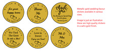 Metallic Gold - Personalised Wedding Favour Stickers labels - Different Sizes