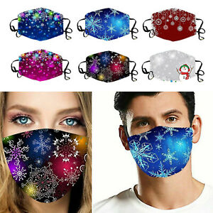 Reusable Washable Breathable Face Mask Cover With Snowflakes Christmas Pattern