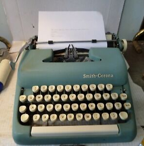 Vintage 1961 Smith Corona Sterling Green Typewriter with Case Serial #5A 907511