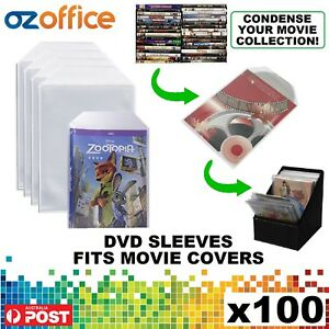 PREMIUM 100 x Clear DVD Plastic Sleeves w/ Flap - DVD Sleeves Fits Movie Covers
