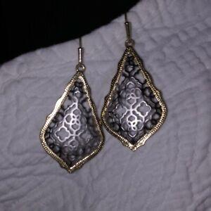Kendra Scott Adair Earrings In Gold Frame w/ Silver Inlay