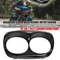 Glossy Black Headlight Cover Bezel Scowl Outer Fairing For Harley Road Glide