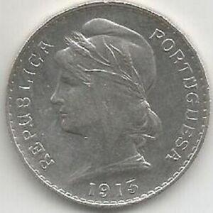 PORTUGAL 50 CENTAVOS 1913 SILVER