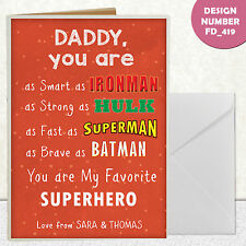 SUPERHERO PERSONALISED FATHERS DAY FATHER'S DAD DADDY A6 CARD GIFTS CARD