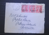 """VICTORIA SUPERB 1900 1d Red X3 ON COVER KILMORE""""54"""" TO SCOTLAND  (CF22)"""