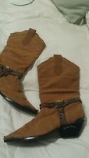 Cowboy boots feather band 8 rust brown gold tone eagle,toe