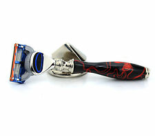 GILLETTE FUSION & HARYALI LONDON DESIGNER BLACK & RED HANDLE RAZOR GIFT FOR MEN