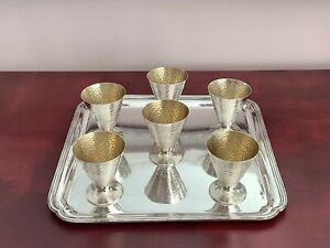 Set Of 6 Arts & Crafts Hand Hammered Silver Plated Goblets On ELKINGTON Tray