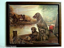 CHOCOLATE LAB DOG PICTURE LABRADOR RETRIEVER  DUCK HUNTING  FRAMED PRINT 16X20