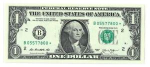 Uncirculated RARE Duplicate 2013 (B) Dollar Star Note Fancy - (B05577800)