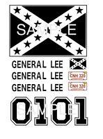 General Lee Black Ink 1:10, 1:18, 1:24, 1:32, or 1:64 water slide decals zamac