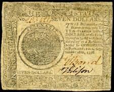 Hgr Sunday 1778 $7 Continental Currency (Post Revolutionary War) Awesome Grade