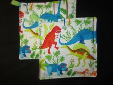 DINOSAUR T-REX TRICERATOP DINOSAURS HANDMADE FABRIC POTHOLDER HOT PAD SET OF 2
