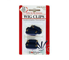Donna Wig Clips Perfect for Hair Extensions 12pk Small #7982 Black