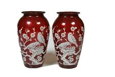Royal Ruby Vase by Anchor Hocking With White Overlay