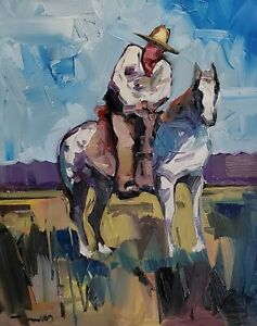 JOSE TRUJILLO Oil Painting IMPRESSIONISM COWBOY HORSE COLLECTIBLE MODERN ART