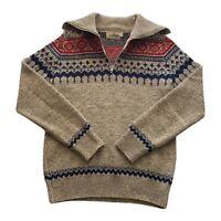 VTG 70s LL Bean Signature Talon 1/4 Zip Beige Geometric Wool Cardigan Sweater XS