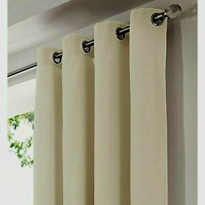 NATURAL CREAM 100% COTTON CANVAS RING TOP CURTAINS FREE POST
