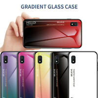 For Samsung Galaxy M10 A10E A20E A30 A70 Gradient Tempered Glass Hard Case Cover