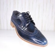 New Asos Navy Blue Mojito Brogue Leather Wingtip Shoes Size 8 Mens nwot