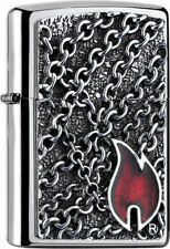 "ZIPPO ""ZIPPO FLAME WITH CHAIN"" BRUSHED CHROME EMBLEM LIGHTER ** NEW in BOX **"