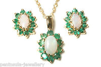 9ct Gold Opal and Emerald Pendant and Earring Set Made in UK Gift Boxed