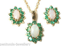 9ct Gold Opal and Emerald Pendant and Earring Set Gift Boxed