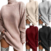 Womens Turtleneck Sweater Winter Knitted Pullover Baggy Jumper Mini Dress Tops
