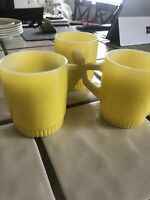 Fire-king Set Of 3 Coffee Mugs Cups Yellow Vintage