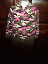 EUC Girls Size 5T Healthtex 2pc Velour Pink Camo Hooded Jacket & Pants
