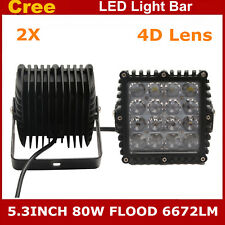2X 5.3inch 80W Cree Flood Square LED Work Light Offroad Truck Jeep Moto 4D Lens