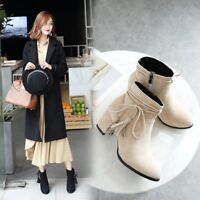 hot Fashion WOmen's High Block Heels Suede Round Toe lace up Martin Ankle Boots