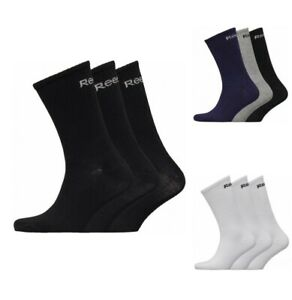 Branded Reebok Sports Socks Mens  3 Pack Crew Black, Multi & White UK 6.5 to 10