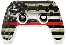 New listing Skin for Stadia Controller Painted and Cracked Red Line Usa American Flag