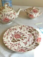 DINNER PLATE 'Rose Chintz Pink' JOHNSON BROTHERS 25 cm Transferware cream red