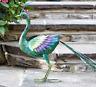 Peacock Lawn Ornament Metal Figure Bird Statue Garden Pond Feature Outdoor