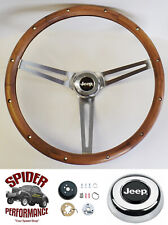 "1967-1975 Jeep CJ5 CJ6 steering wheel 15"" MUSCLE CAR WALNUT"