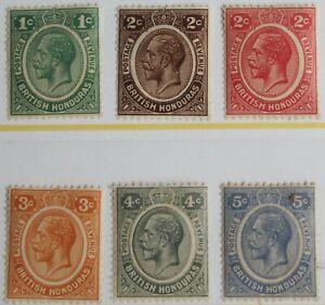 British Honduras – 1922 Set (6) – SG126-31 - Mint – Cat £52 – (R5-E)