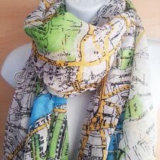 Map Print Scarf Womens Ladies London Street Vintage Retro Look Classy Fashion