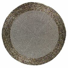 Round Furniture Dining Table Woven Glass Bead Placemat 30cm ~ Grey