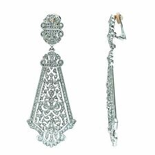 Kenneth Jay Lane rhinestone silver tone long drop earrings 5382ESC
