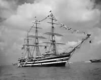 Amerigo Vespucci, A 3 Mast Full Rigged Sailing Ship 1953 HISTORIC OLD PHOTO