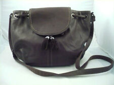 VGC David Jones chocolate brown PU with leather trim shoulder bag purse