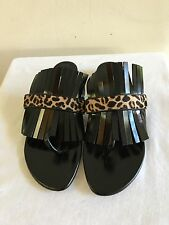 New w/o Box OSCAR DE LA RENTA Black Fringe Leopard Print Sandals Shoes 39/9