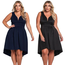 Sexy Plus Size V Neck Sleeveless Fit & Flare Hi-lo Pleated Swing Skater Dress