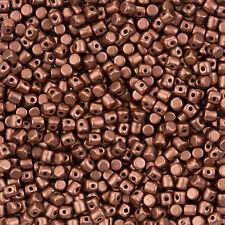 Czech Glass Minos® par Puca® 3mm Barrel Beads Copper Gold Matte 9g (L99/1)