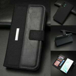 For Samsung Galaxy Note10 Plus 5G Magnetic Leather Black Flip Wallet Case Cover