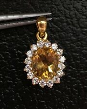 14k Solid Yellow Gold Cluster Pendant Natural Citrine & White Stones 2.55 Grams