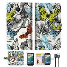 Butterfly Garden Wallet Case Cover For Google Nexus 5X -- A018